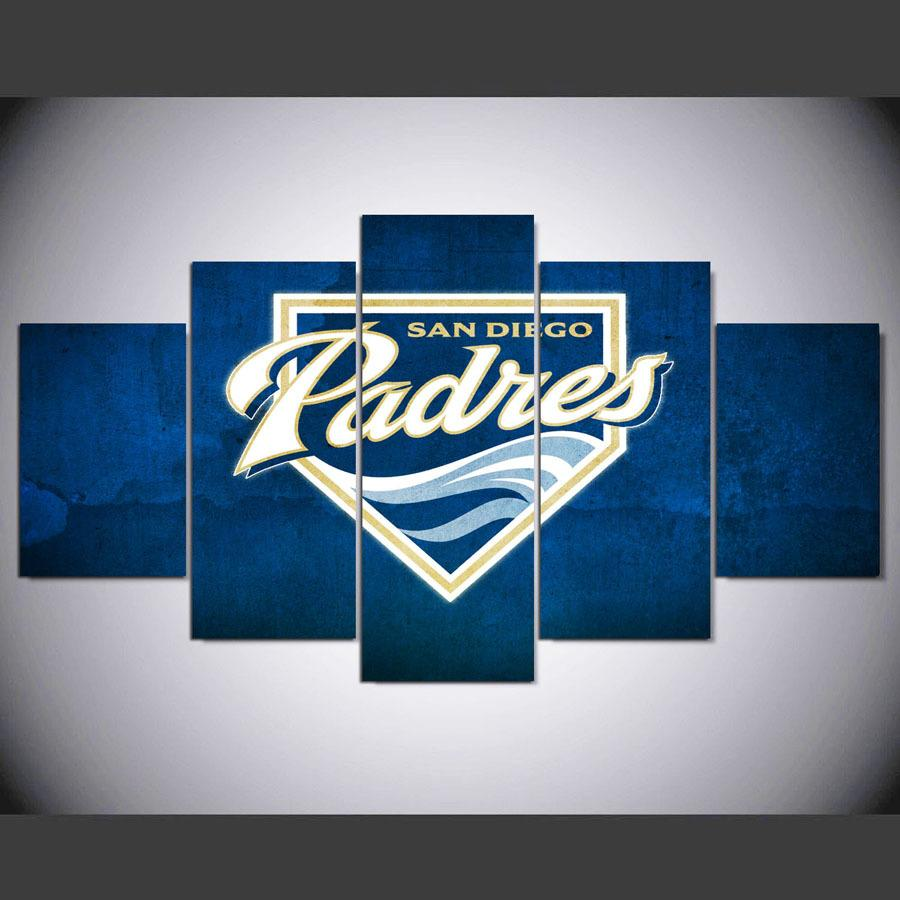 5 Piece San Diego Padres Logo Canvas Paintings - It Make Your Day