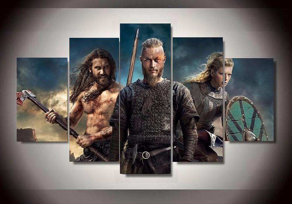 5 Piece Series Vikings Characters Movie Canvas Painting Wall Art - It Make Your Day
