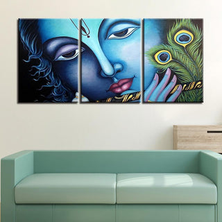 Framed 3 Piece Shiva Peacock Canvas - It Make Your Day