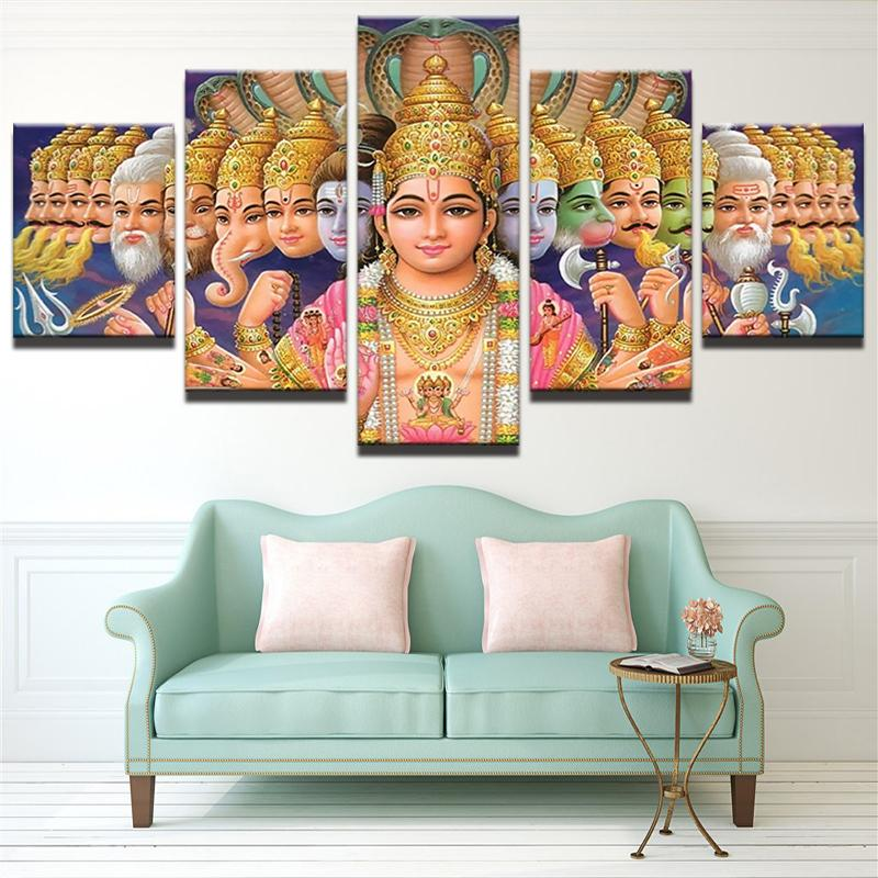5 Piece Shiva Vishnu India God Canvas Painting Wall Art - It Make Your Day