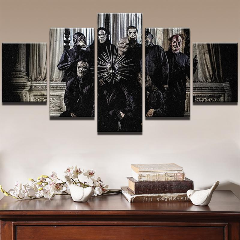 5 Piece Slipknot New Mask Movie Canvas Painting Wall Art - It Make Your Day