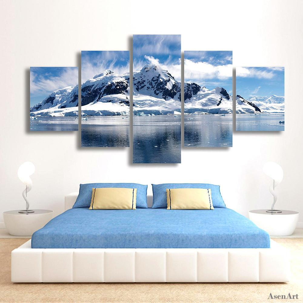 5 Piece Snow Mountain Landscape Painting Canvas Painting Wall Art - It Make Your Day