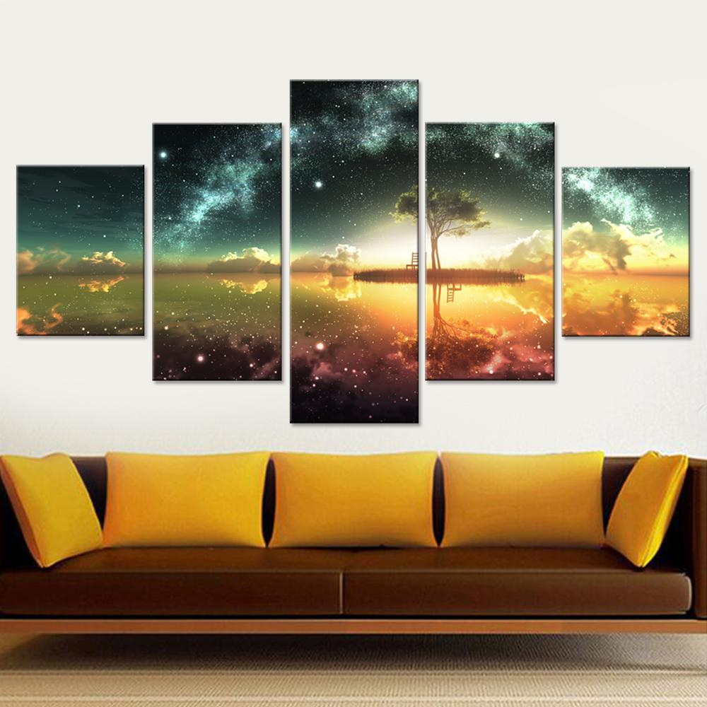 5 Piece Space Ocean Canvas Paintings - It Make Your Day
