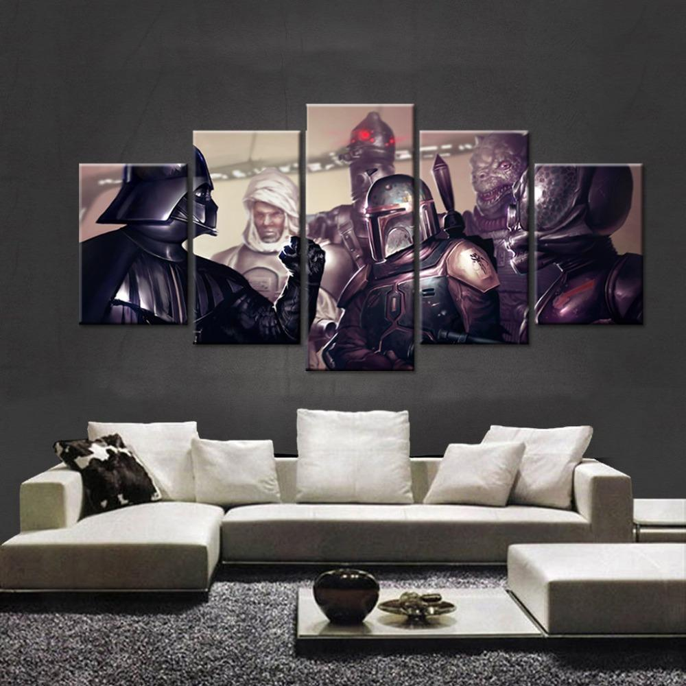 5 Piece Star Wars Black Knight Movie Canvas Painting Wall Art - It Make Your Day