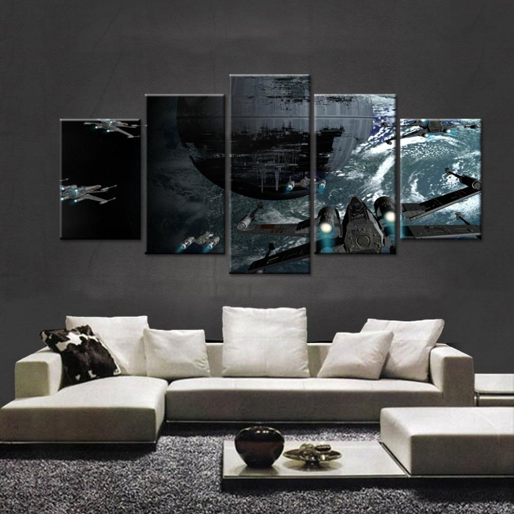 5 piece star wars death star movie canvas painting wall art it make your day