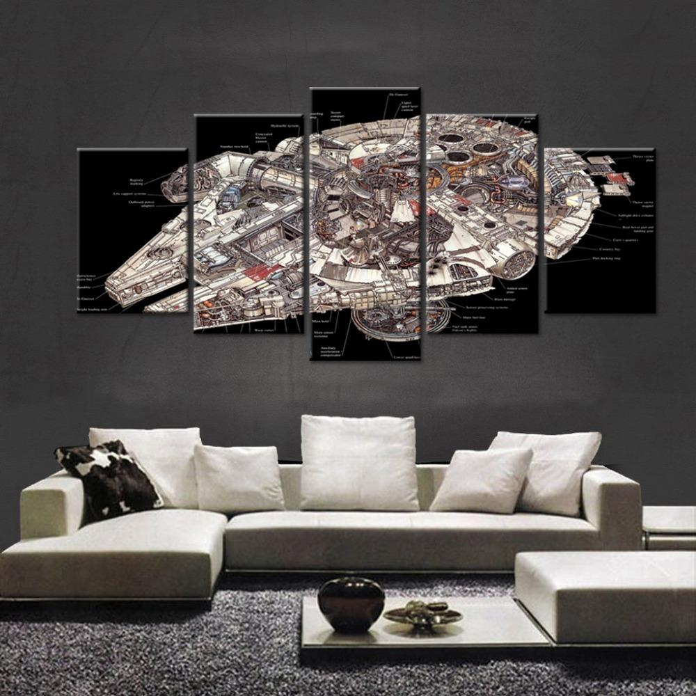 5 Piece Star Wars Falcon Spaceship Movie Canvas Painting Wall Art - It Make Your Day