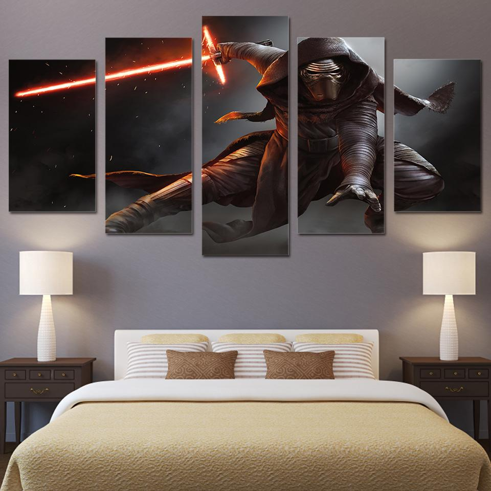 5 Piece Star Wars Fight Movie Canvas Painting Wall Art - It Make Your Day
