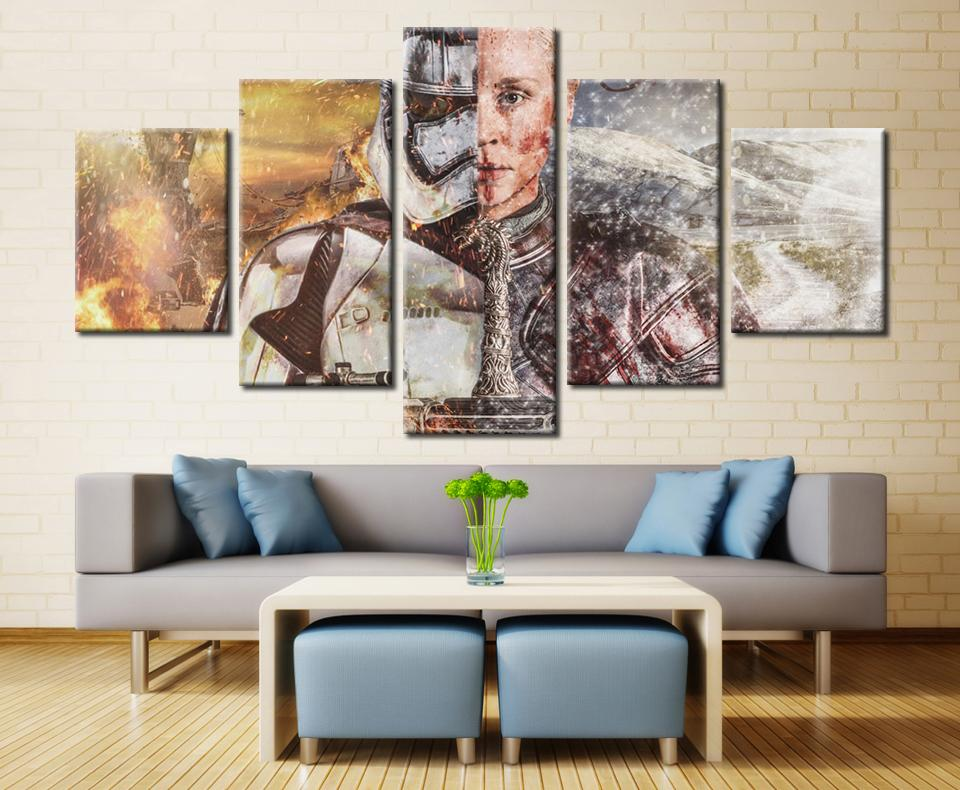 5 Piece Star Wars Game Of Thrones Movie Canvas Painting Wall Art