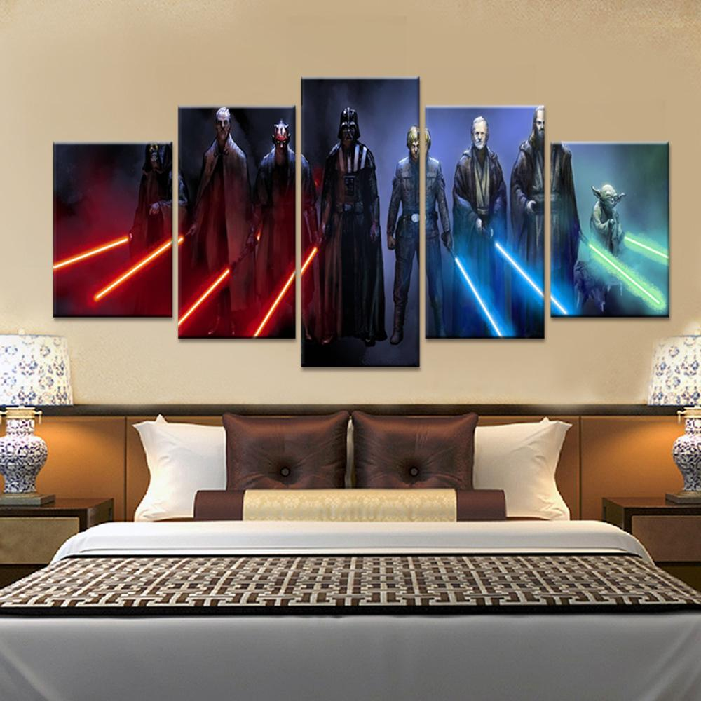 5 Piece Star Wars Lightsaber Movie Canvas Painting Wall Art - It Make Your Day