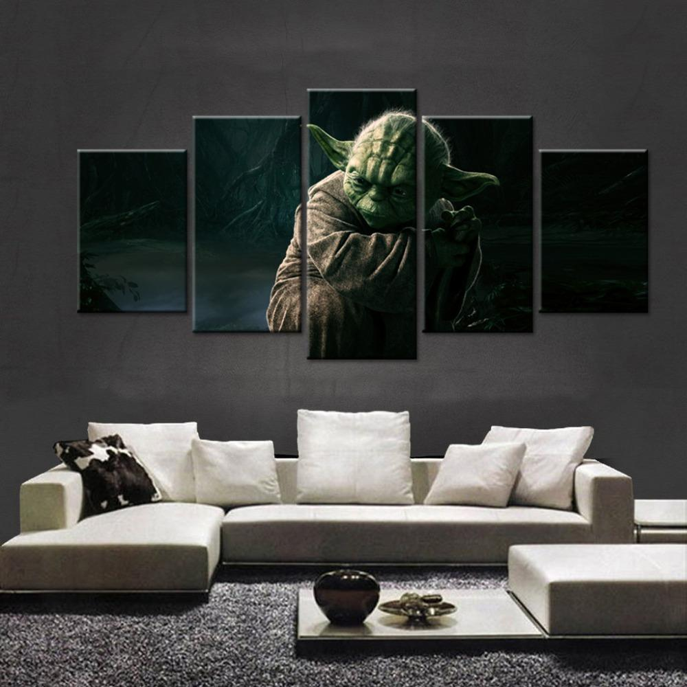 5 Piece Star Wars Master Yoda Movie Canvas Painting Wall Art - It Make Your Day
