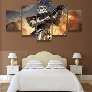 5 Piece Star Wars The Awakening Movie Canvas Painting Wall Art - It Make Your Day