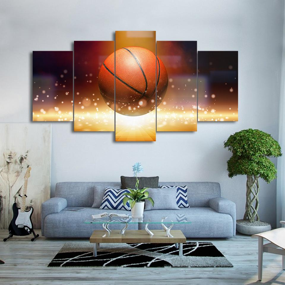 5 Piece Still Life Basketball Sports Canvas Wall Art   It Make Your Day