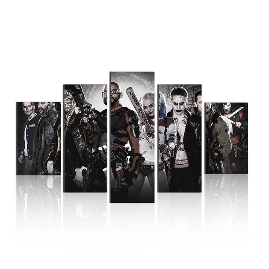 5 Piece Suicide Squad Team Movie Canvas Painting Wall Art - It Make Your Day