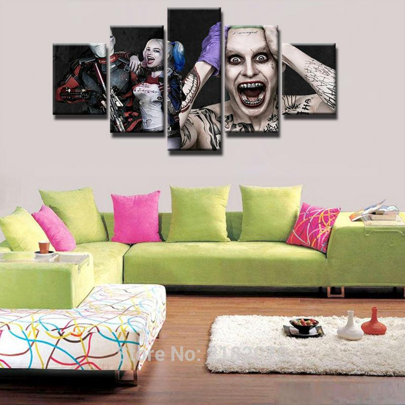 5 Piece Suicide Squads Joker Movie Canvas Painting Wall Art - It Make Your Day