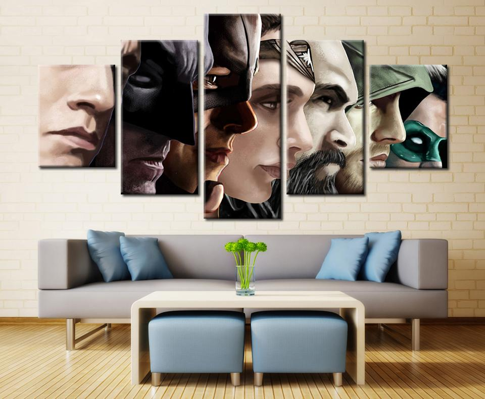 5 Piece Superheroes Collection Movie Canvas Painting Wall Art - It Make Your Day
