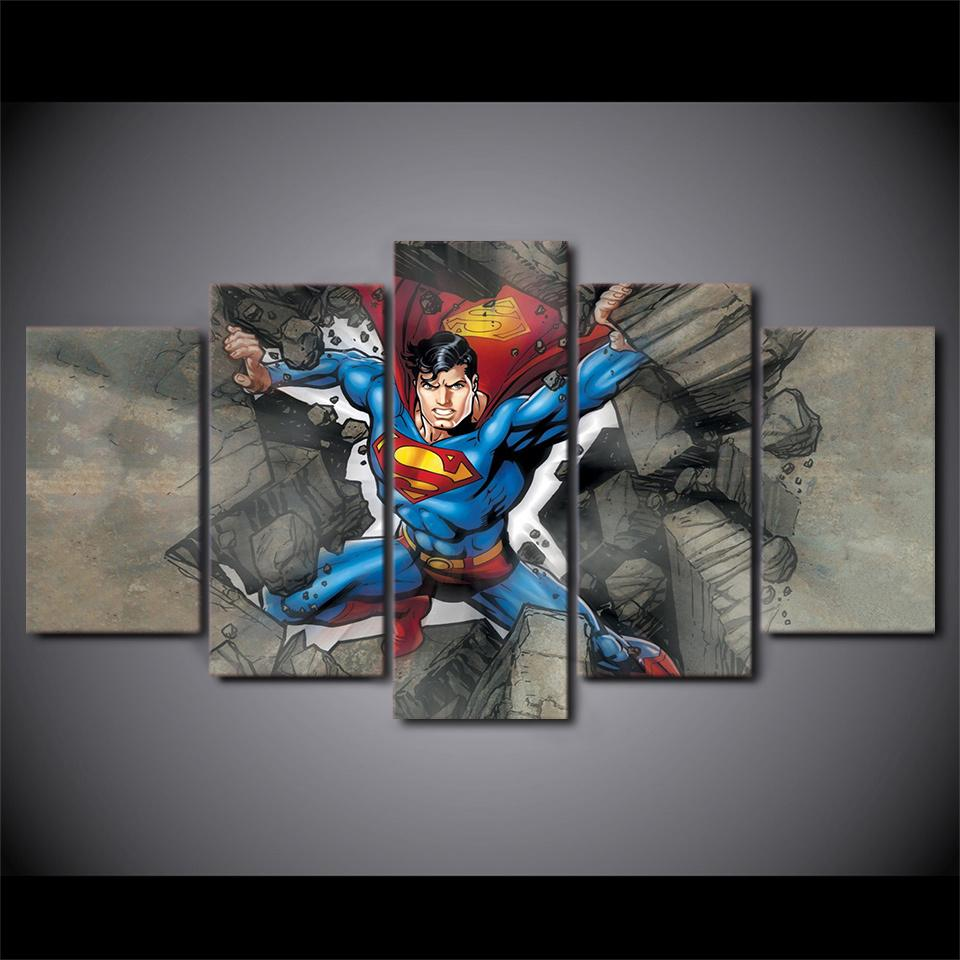 5 Piece Superman Comics Movie Canvas Painting Wall Art - It Make Your Day