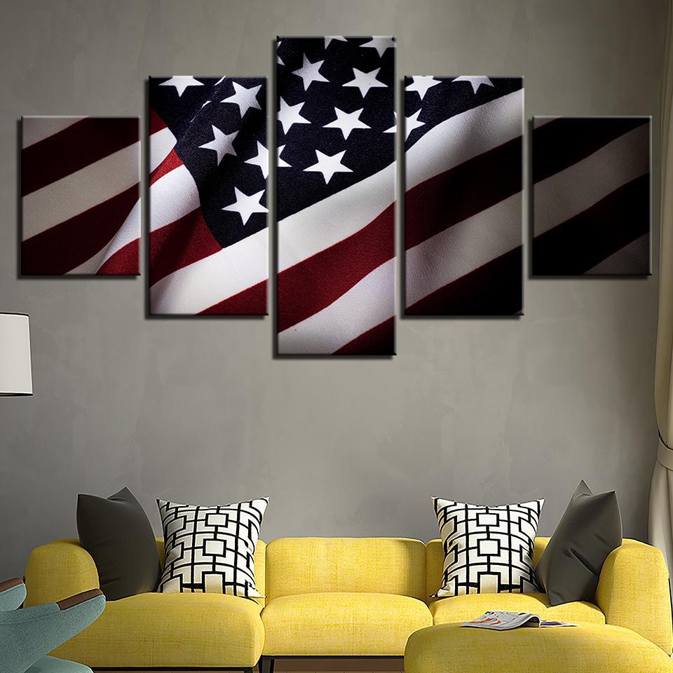 5 Piece Supporting The Flag Canvas Wall Art Paintings - It Make Your Day