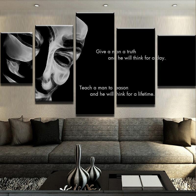 5 Piece Teach Reason Anonymous Canvas Wall Art Paintings - It Make Your Day
