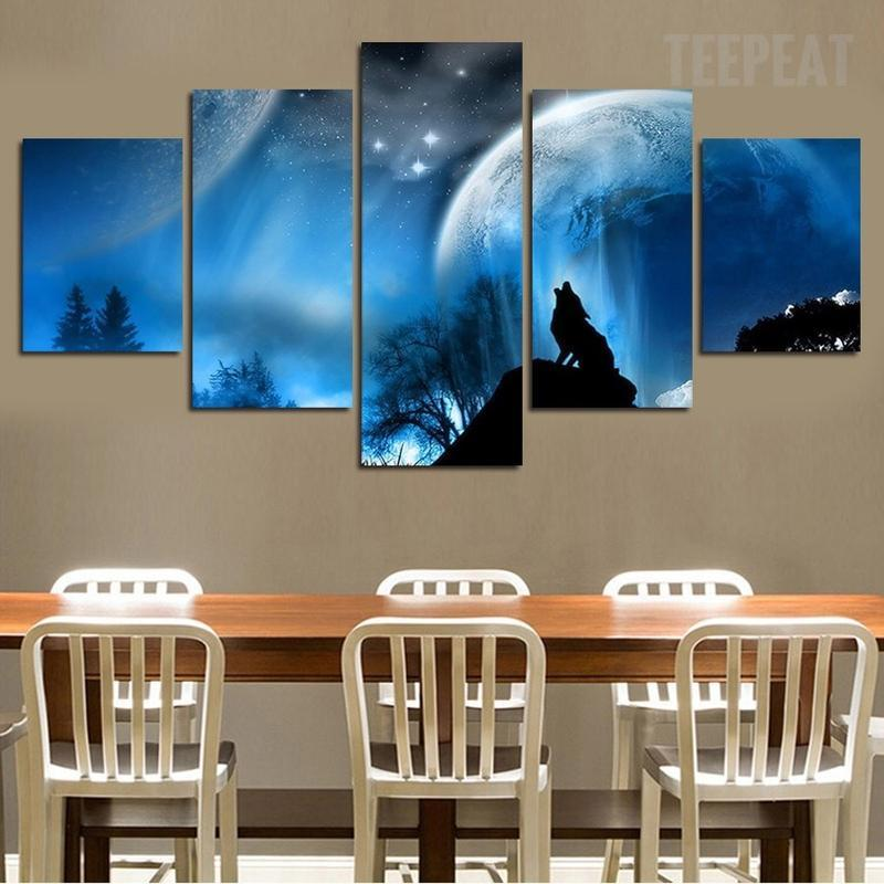 5 Piece The Enchanting Wolf Large Canvas Painting Nature - It Make Your Day