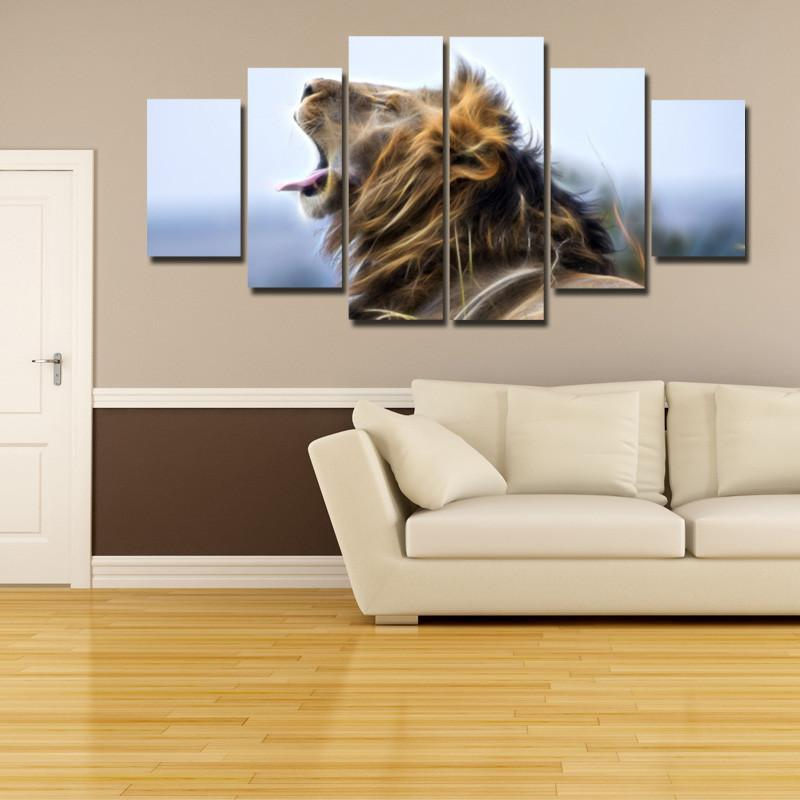 5 Piece The King Of The Jungle V2 Large Canvas Painting Nature - It Make Your Day