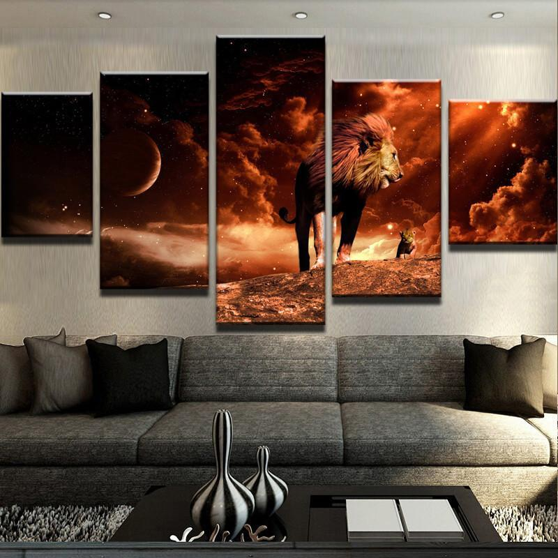 5 Piece The Real Lion King Canvas Wall Art Paintings - It Make Your Day