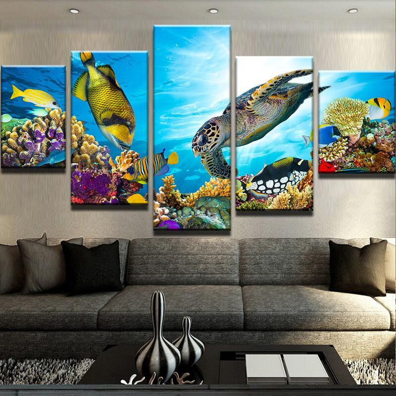 5 Piece The Sea Life Canvas Wall Art Paintings - It Make Your Day