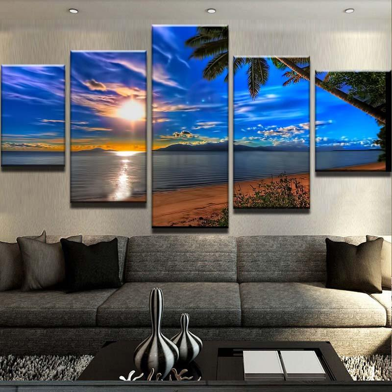 5 Piece Tropical Sunset Canvas Wall Art Paintings - It Make Your Day
