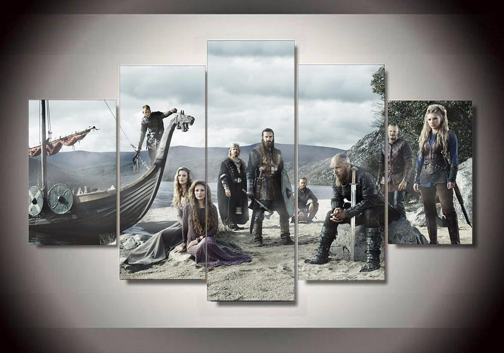5 Piece TV Series Vikings Poster Movie Canvas Painting Wall Art - It Make Your Day