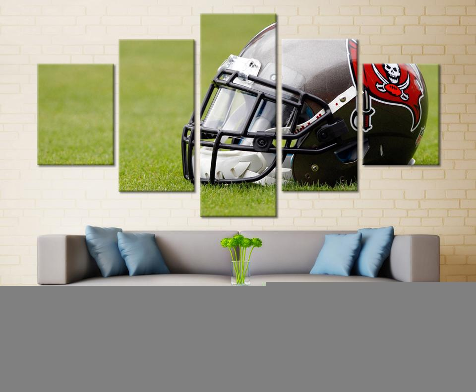 5 Piece Tampa Bay Buccaneers Helmet Rugby Canvas Paintings - It Make Your Day