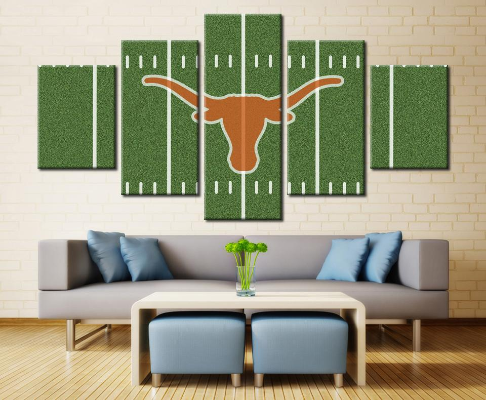 5 Piece Texas Longhorns Logo Basketball Canvas Painting Wall Art - It Make Your Day