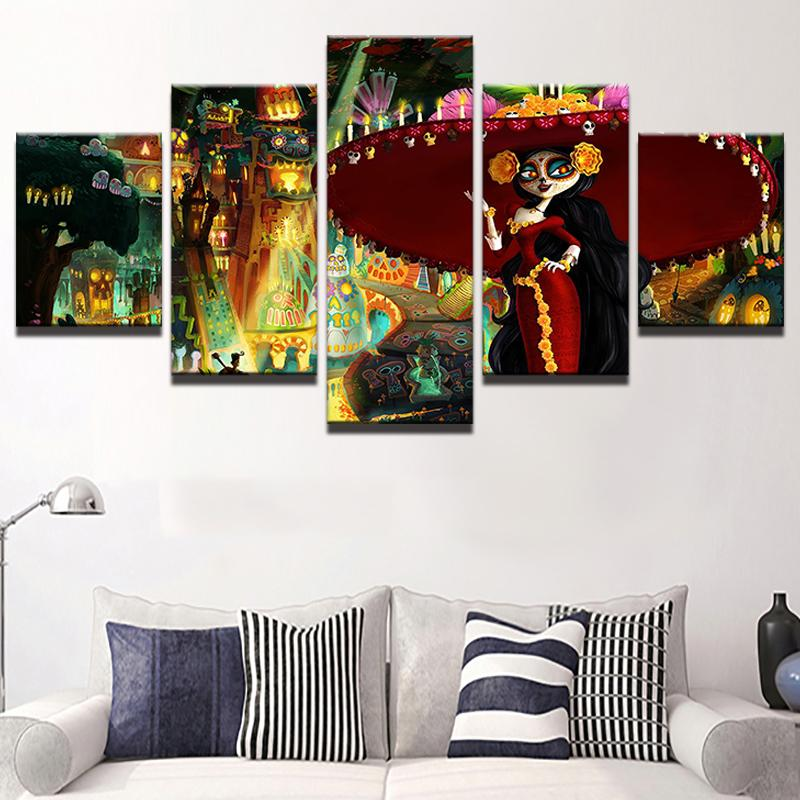 5 Piece The Book Of Life Poster Movie Canvas Painting Wall Art - It Make Your Day