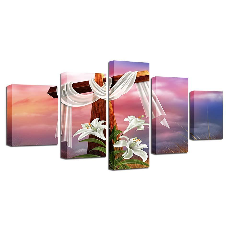 Framed 5 Piece The Cross Canvas - It Make Your Day