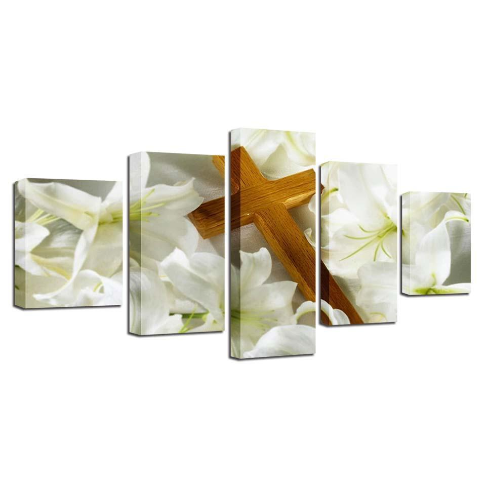 Framed 5 Piece The Cross Laying On Lilies Canvas - It Make Your Day