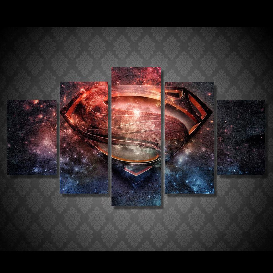 5 Piece The Emblem Supergirl Movie Canvas Painting Wall Art - It Make Your Day