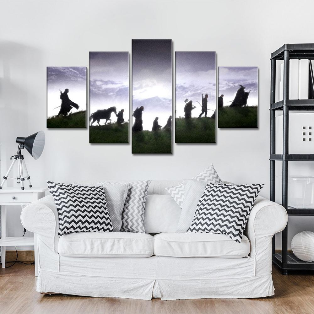 5 Piece The Fellowship of Ring Movie Canvas Wall Art Paintings Sale ...