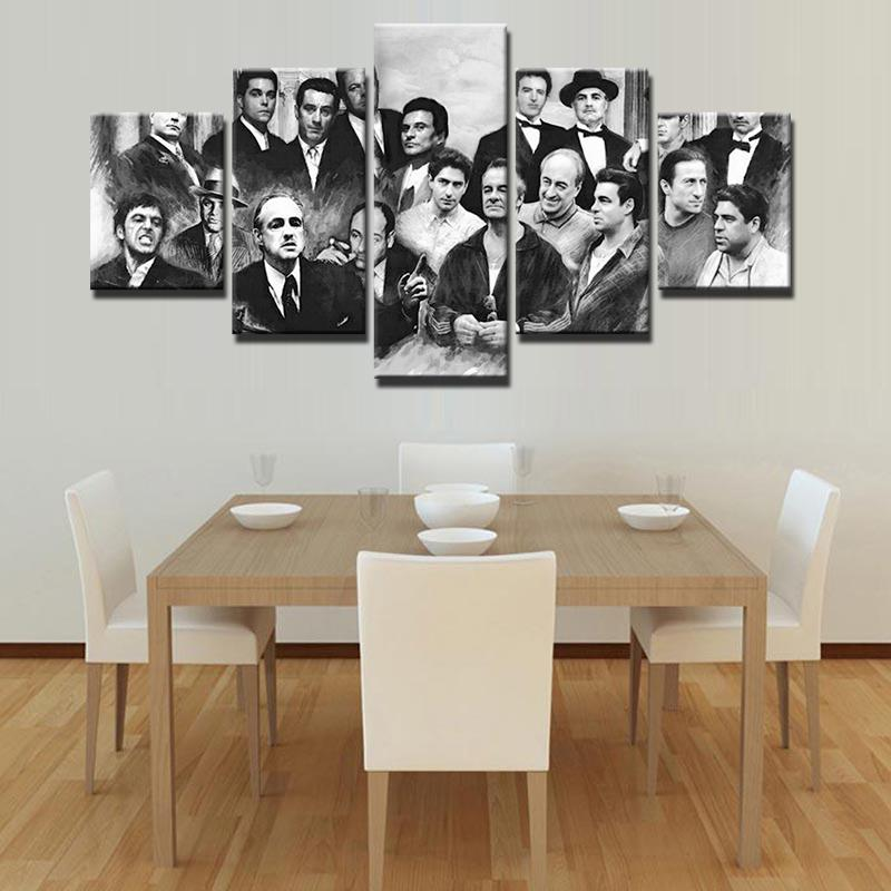 5 Piece The Godfather Movie Characters Canvas Painting Wall Art - It Make Your Day
