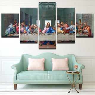 Framed 5 Piece The Last Supper Canvas - It Make Your Day