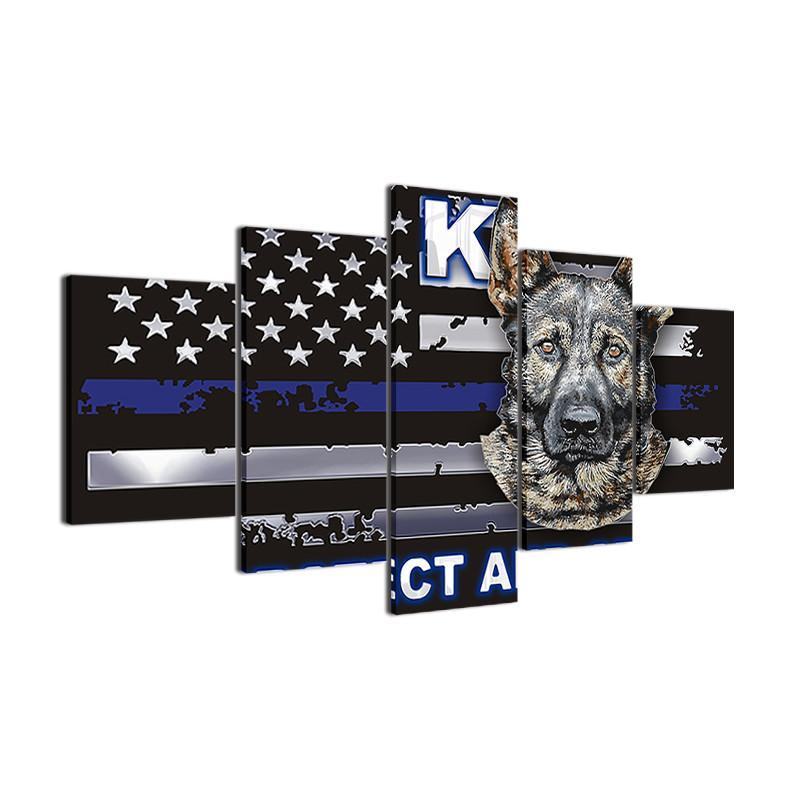 Thin Blue Line K9 Canvas Painting Wall Art - It Make Your Day