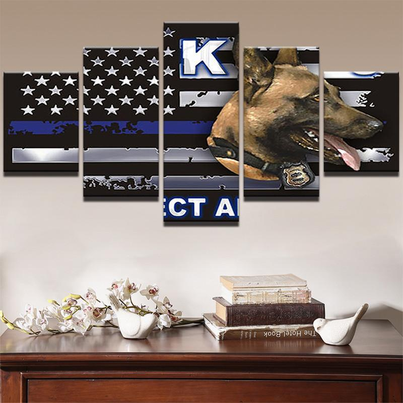 Thin Blue Line Police K9 Canvas Painting Wall Art - It Make Your Day