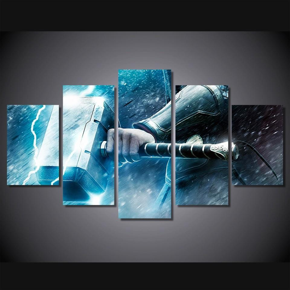 5 Piece Thor The Dark World Movie Canvas Painting Wall Art - It Make Your Day