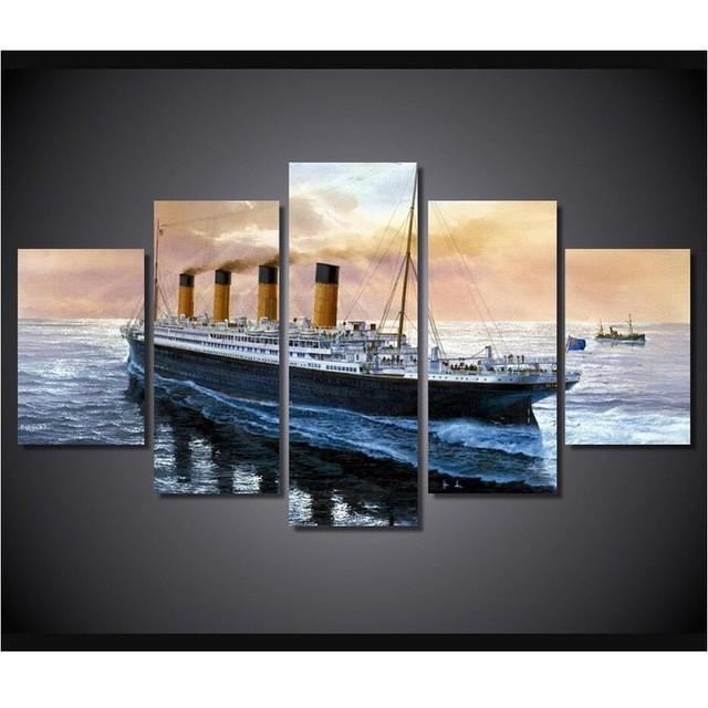 5 Piece Titanic Ship Seascape Movie Canvas Painting Wall Art - It Make Your Day