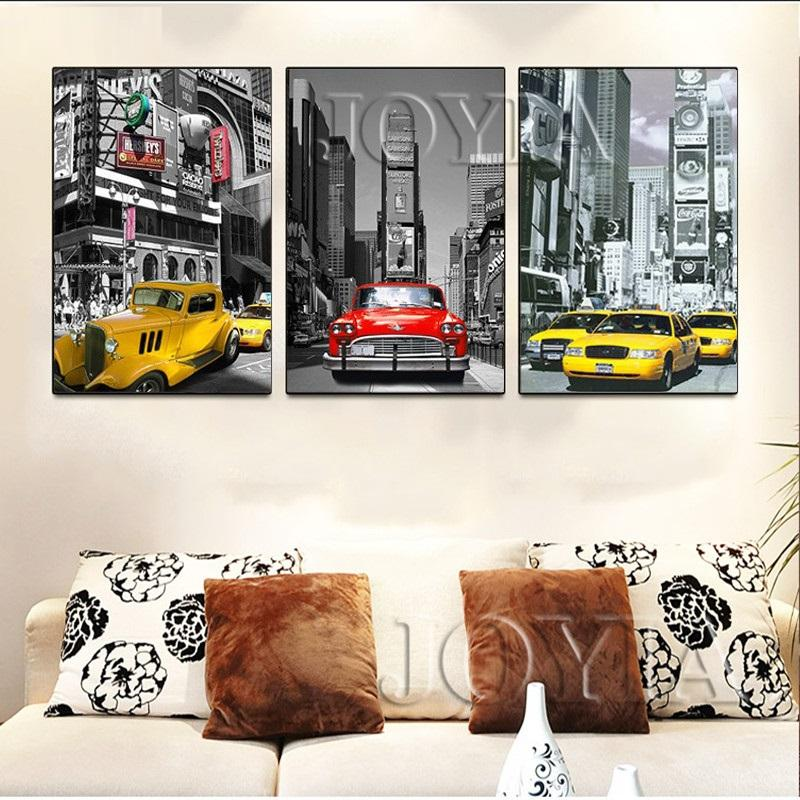 3 Piece Urban Night Scene Car Canvas Wall Art Sets - It Make Your Day
