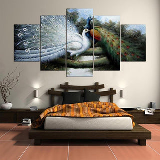 Framed 5 Piece Two Beautiful Peacock Canvas - It Make Your Day