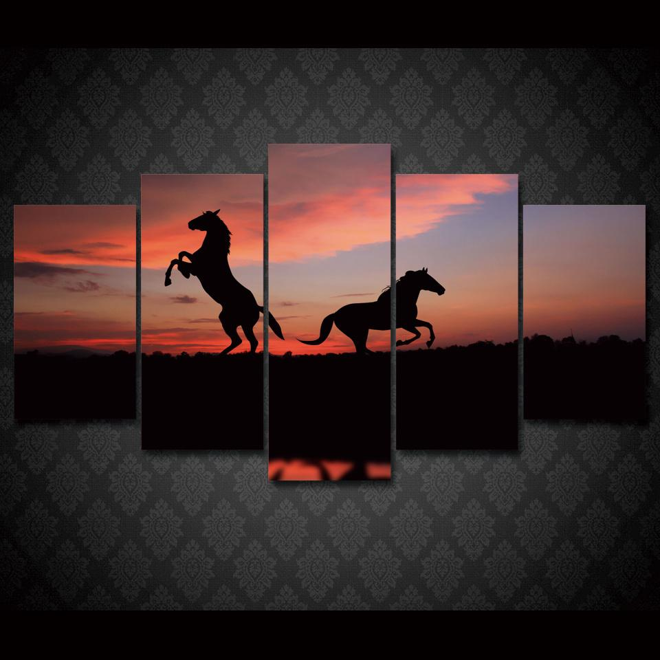 5 Piece Two Horses Landscape Large Canvas Painting Nature - It Make Your Day