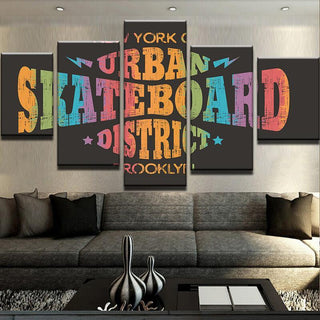 5 Piece Urban Skateboard District Canvas Wall Art Paintings - It Make Your Day