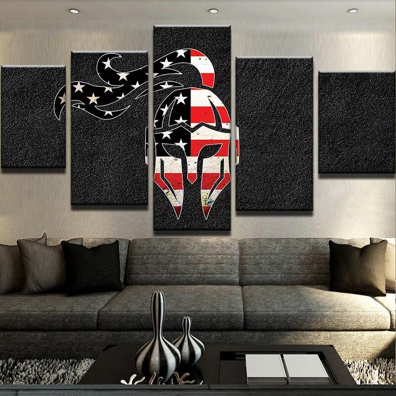 5 Piece US Flag Spartan Canvas Wall Art Paintings - It Make Your Day