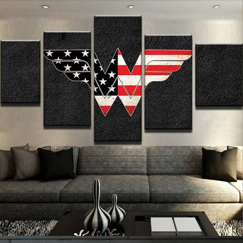 5 Piece US Flag Wonder Woman Canvas Wall Art Paintings - It Make Your Day