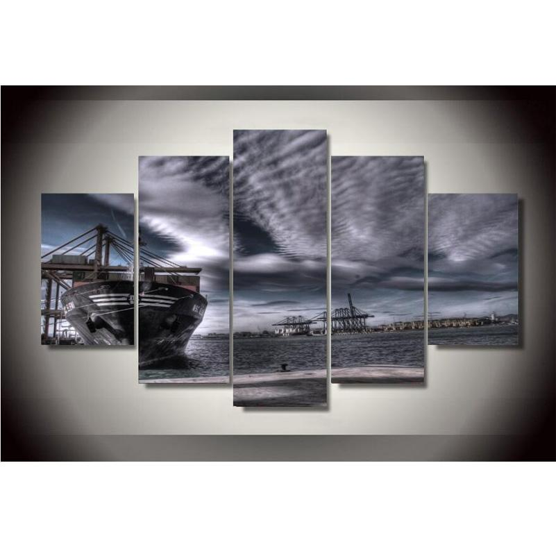 5 Piece Seaside Fishing Boats Canvas Wall Art Sets - It Make Your Day