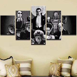 5 Piece Universal Monsters Avengers Horror Canvas Wall Art Sets - It Make Your Day