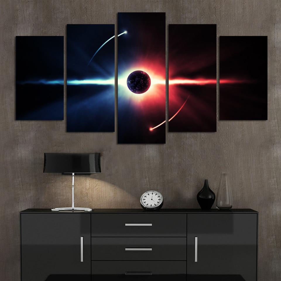 5 Piece Universe Landscape Cuadros Earth Canvas Painting Wall Art - It Make Your Day